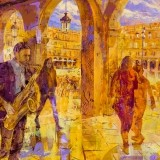Jazz saxo en la Plaza Mayor - 100x100 cm